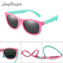 LongKeeper Kids Sunglasses Polarized TR90 Flexible Frame UV400 Pink Baby