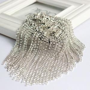 Image 4 - Moda artesanal ombro jóias borla strass epaulettes acessórios de vestuário broche epaulet broches ombro