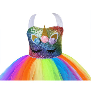 Image 5 - Cute Kids Unicorn Theme Birthday Party Unicorn Dress Girl Rainbow Sequin Top Christmas Dress for Baby Girls Unicorn Baby Clothes