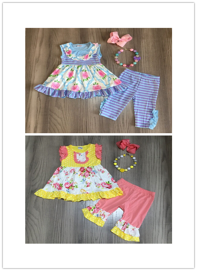 Baby Girls Summer Spring Floral Outfits Girls Floral Dress Stripe Capri With Accessories