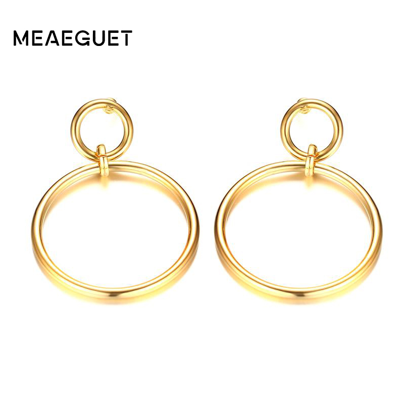 Meaeguet Stainless Steel Unik Ganda Putaran Perempuan Anting - Perhiasan fashion - Foto 1