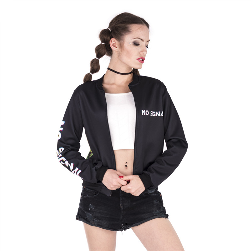 Fashion Design Women Bomber   Jacket   No Signal Skull Printing Jaqueta Feminina Sexy Slim   Basic     Jacket   for Woman#3