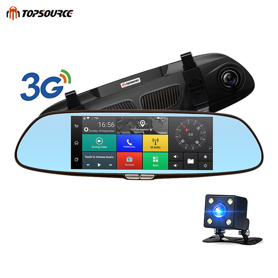 TOPSOURCE DVR 3G HD 1080P 7 Android GPS Bluetooth Dual Lens Rearview Mirror Video Recorder Automobile Car Camera DVR Mirror image