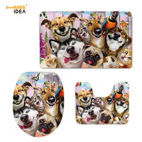 HUGSIDEA Selfie Dog 3D Pattern Non Slip WC Mat Decoration Bathroom Toilet Seat Covers for Kids Cute Floor Rugs Mats 3pcs/set