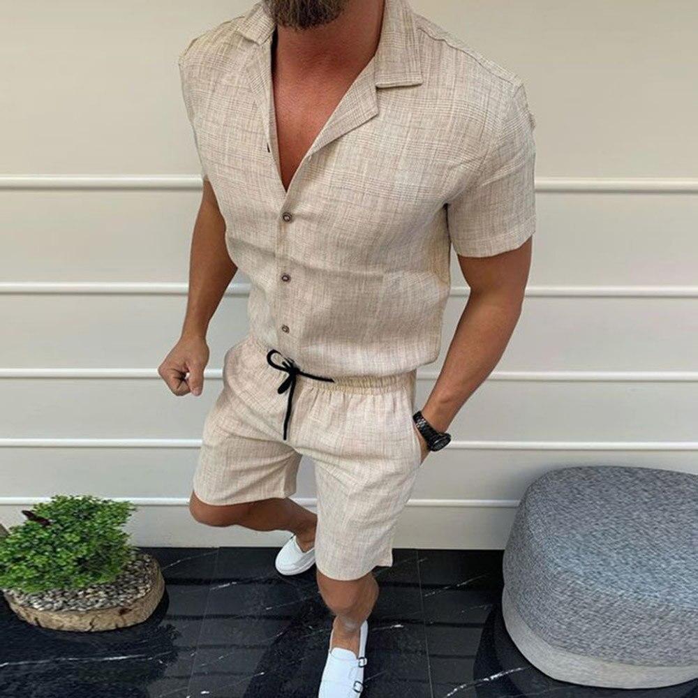 Мужской комплект из шорт и дышащей ткани, повседневный пляжный комплект из двух предметов с лацканами, модная летняя одежда