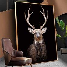 Настенные картины на холсте с изображением черного оленя постеры