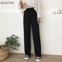 Женские брюки, однотонные свободные, с высокой талией, повседневные длинные брюки, трендовые, универсальные, с карманами, женские, корейский...