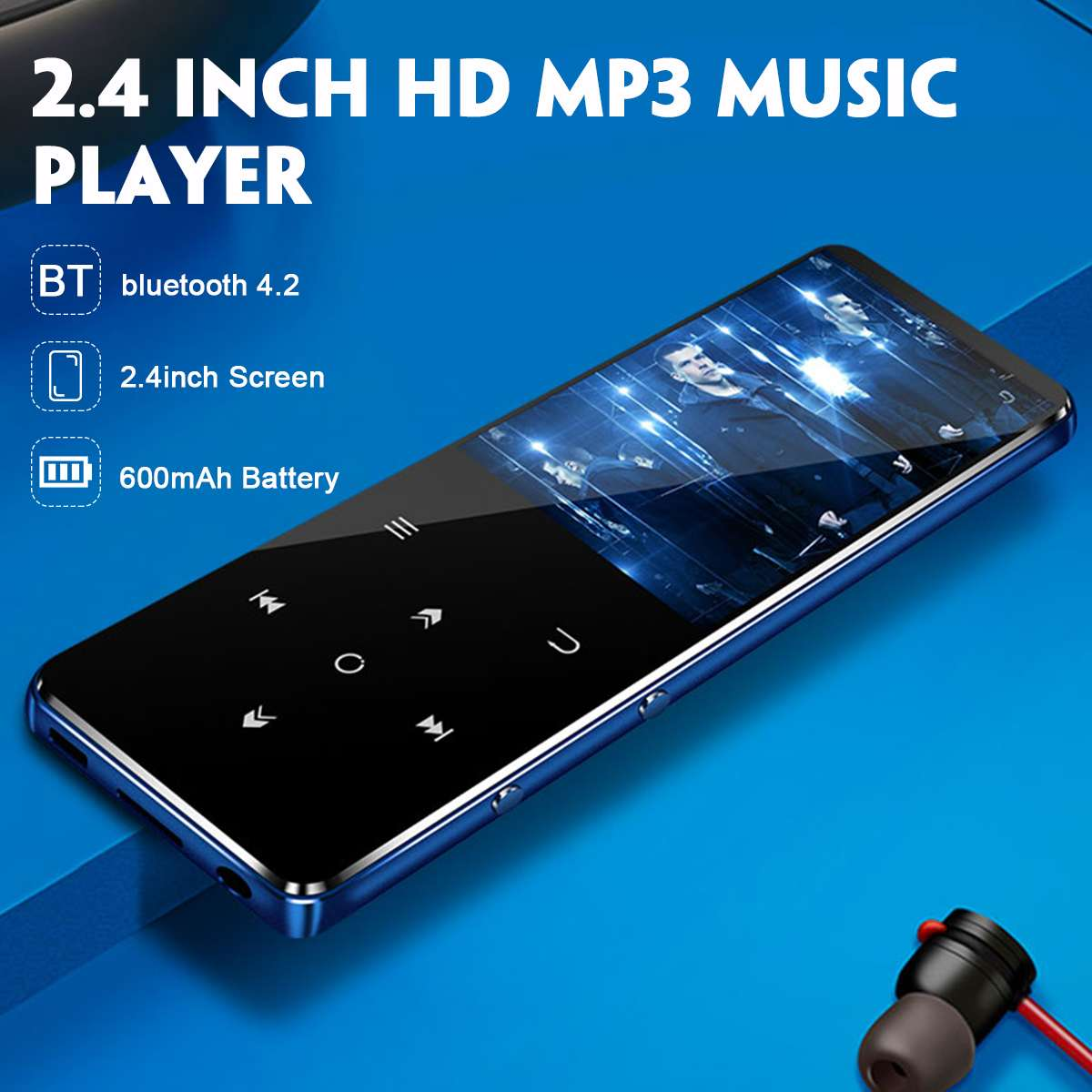 MP3 Player 2.4 Inch HD Touch Screen IPX4 Waterproof MP3 MP4 Music Bluetooth Player HiFi Portable 4/8/16GB Lecteur MP3