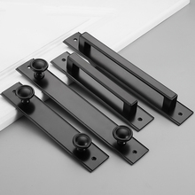 Black Aluminum Alloy Sliding Door Handle Fire Toilet Pull Plate Push Gate With Screws
