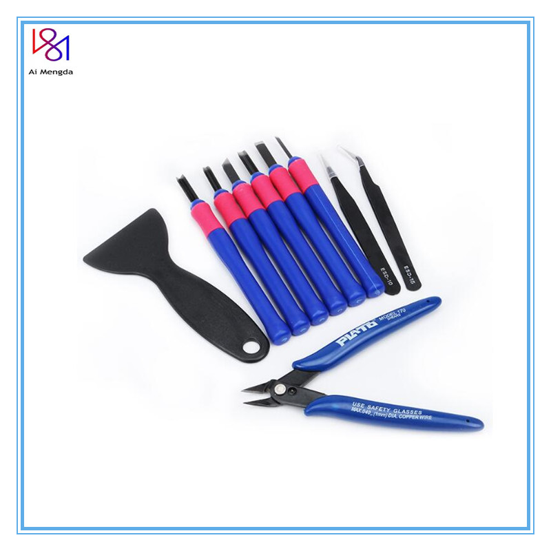 3D Printer Parts Repair Knife Tweezers Spade Clipper Tool Kit Set for 3D Printed Model Deburring Clean-up 10pcs set
