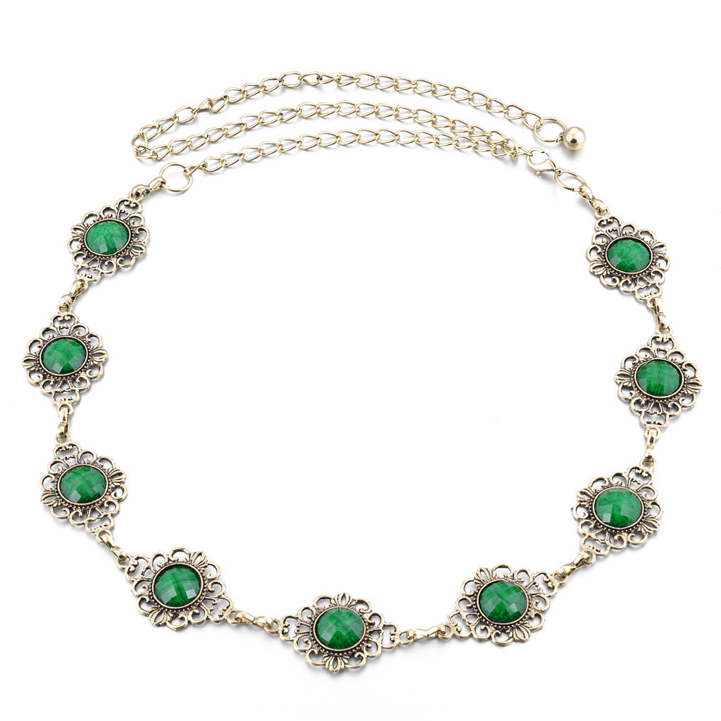 Womens Green Gem Crystal Flower Chain Belt Evening Cocktail Dress Decor