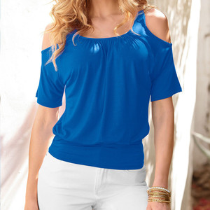 MRMT 2020 Brand New Womens Strapless T-shirt Polyester Slim Women T shirt Short Sleeve For Female Solid Color Tops Woman T-shirt