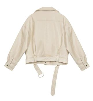 Abrigo de piel sintética con cremallera de solapa para mujer, chaqueta informal...