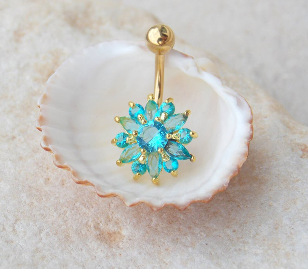 Hcd369fe768a648a6a117ee4a2230fbecL Navel Piercing Body Jewelry Crystal Flower Belly Button Ring