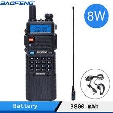 Baofeng UV 5R 8W Alta Potência Versão 10km Longo Rang Rádio Em Dois Sentidos VHF UHF Dual Band UV 5R rádio portátil Walkie Talkie Rádio CB