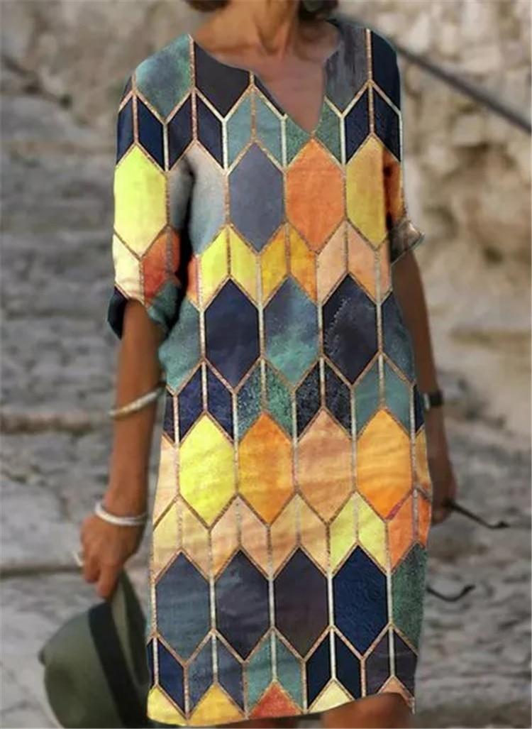 Fashion casual dress large size loose dress temperamental mid-sleeve dress 3