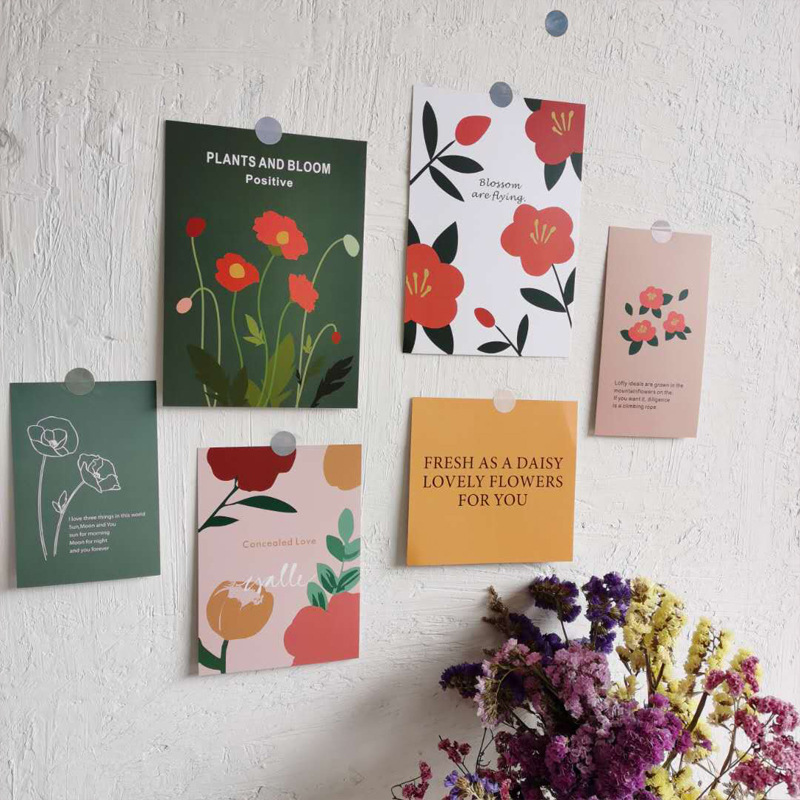 Ins Plant Flower Decorative Card Creative English Postcard Diy Collocation Wall Sticker Photographic Props Gift Greeting Cards