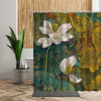 Retro Chinese Printed Shower Curtain Sets Lotus Flower Art Poster 3D Bathroom Decor Bath Screen Backdrop Fabric Curtains 240x180 image