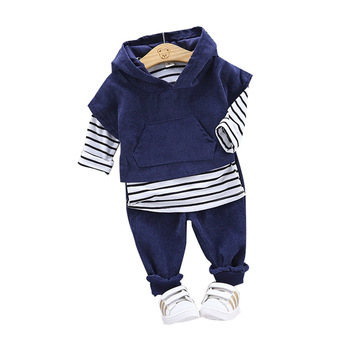 3PCS Set Baby Boys Clothes Autumn Toddler Kids Hooded Vest Tops  + Long Sleved Striped T-shirt Pants Children Girl Clothing Set toddler girl outfits 2018 striped patchwork t shirt tops denim pants clothes kids 2 pcs autumn suits children outfits clothing
