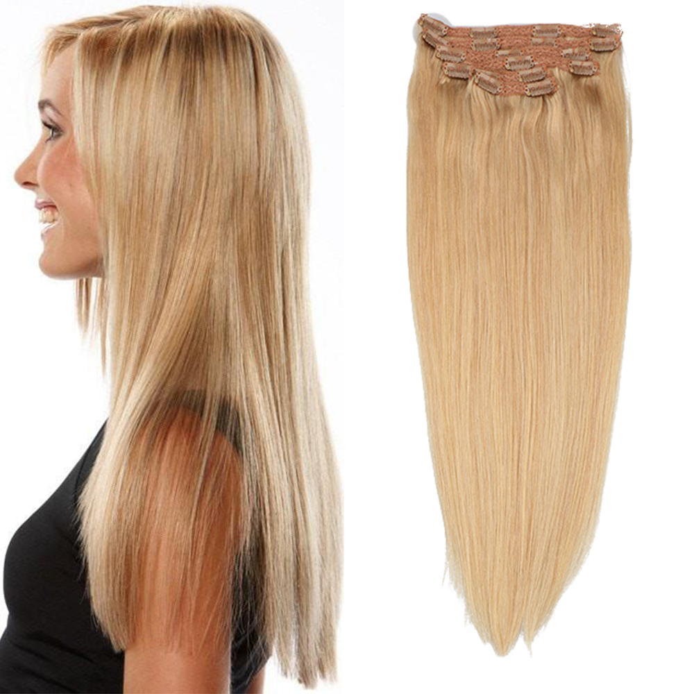 Toysww Indian Remy Hair Clip In Human Hair Extensions Color #27 Full Head 6Pcs/Set 100G 120G Clip Hair