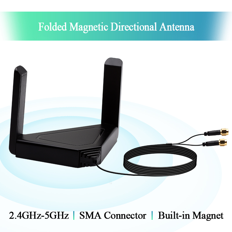 Wireless Dual Band External Antenna For Desktop Laptop 120CM Managetic Antennas for Intel AX200 9260NGW Card PCIe Wifi Adapter
