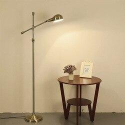 Amerykańska całkowicie miedziana regulowana lampa podłogowa żywa lampka nocna do pokoju nowoczesna lampa podłogowa LED retro