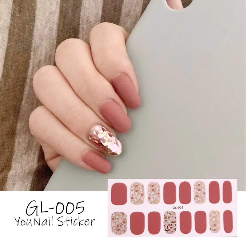 New 16tips Stickers Pure Color Shiny Sequins Decorations Full Nail Wraps Art Decals Strips Adhesive False Nail Designs Manicure