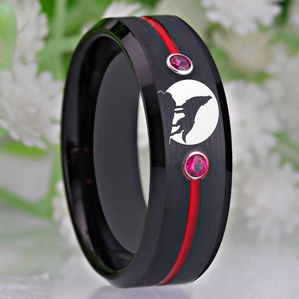 التنغستن كربيد الذئب عواء القمر خاتم الرجال الزفاف الفرقة خواتم الخطبة للنساء انخفاض الشحن هدية للذكرى السنوية خواتم