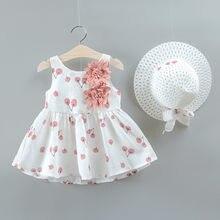 Vêtements d'été pour petites filles, ensemble robe et chapeau de princesse, imprimé cerise