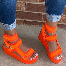 2020 Fashion Lady Platform Sandals High Quality Summer Gladiator Sandals Orange Women Casual Party Wedges Shoes Woman 34-44 2019 gladiator women sandals wedges high heels sandals spring summer brown black female shoes casual lady shoes woman footwear