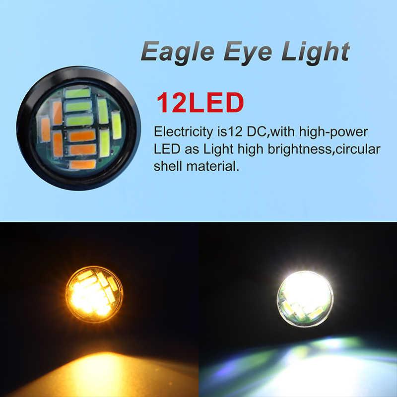 DXZ 2X ستروب الضباب أضواء النهار تشغيل ضوء النسر العين LED 18 23 مللي متر 12 فولت الأصفر الأزرق الأبيض الأحمر DRL عكس وقوف السيارات مصباح إشارة