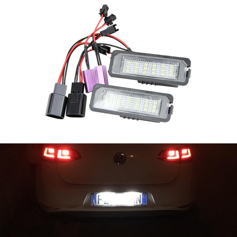 2x автомобильный светильник MK5 GTI MK6 MK7 Golf 5 Glof 6 Golf 7 ксеноновый Белый светодиодный номерной знак комплект освесветильник Canbus без ошибок автост...