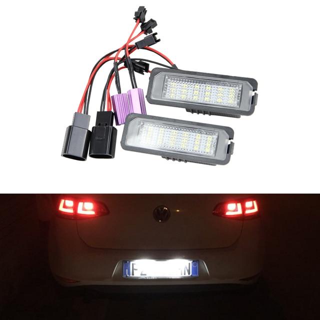 2x Auto Light MK5 GTI MK6 MK7 Golf 5 Glof 6 Golf 7 Xenon White Led Number License Plate Light Kit Canbus Error Free Car-Styling