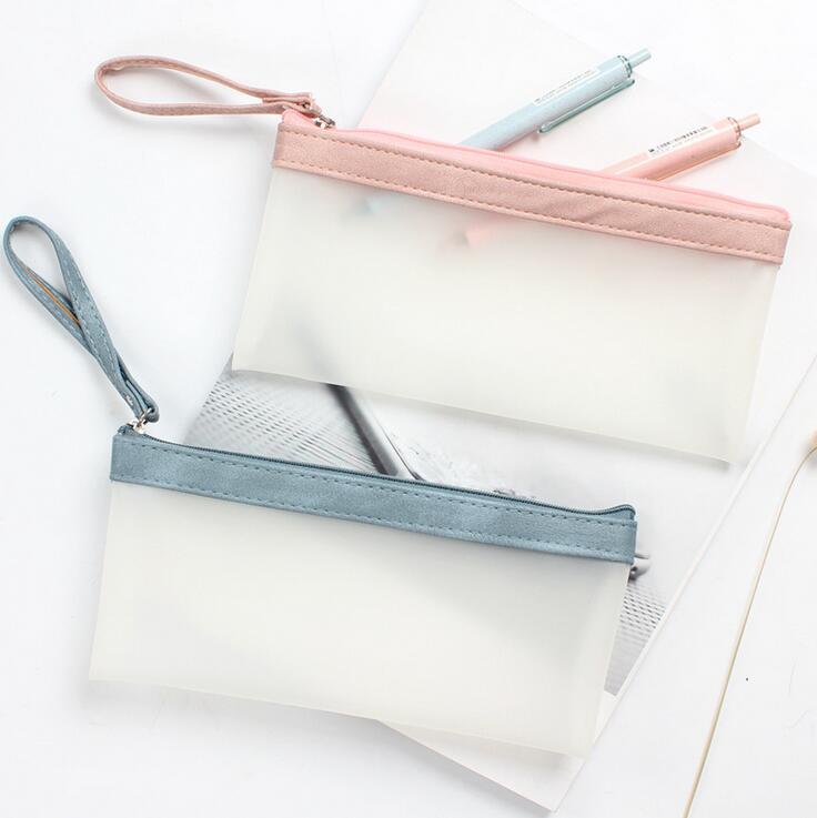 Simple Hold Translucent PU Pencil Case Stationery Storage Organizer Pencil Bag School Office Supply Escolar