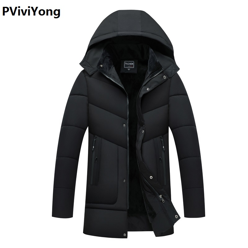 PViviYong 2019 Winter Jacket Men Male Hooded Loose Coat  High Quality Cotton Long Coat Men Clothes Thicked Liner Parka 902