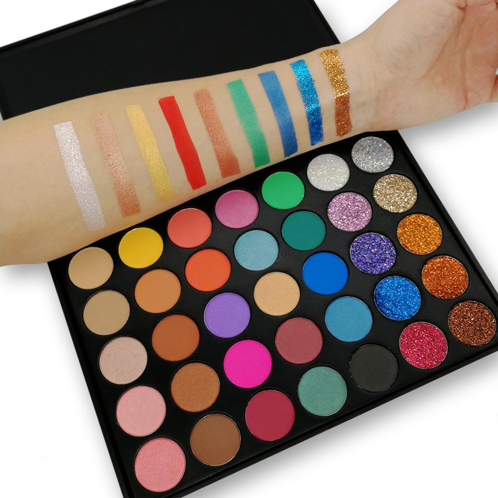 35 Colors Studio Matte Eyeshadow Power Palette Glitter Highlighter Shimmer Make Up Pigment Nude Eye Shadow Shine Glitter Palette