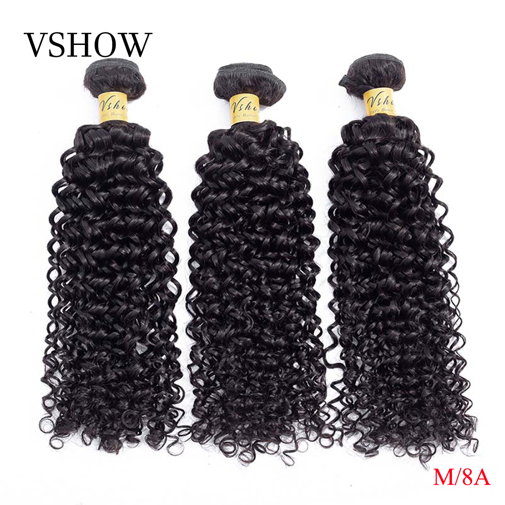 Malaysian Kinky Curly Hair Bundles 1/3/4 Bundles Deals 10-26 Inches Natural Color Can Be Dyed VSHOW M Remy Human Hair Extensions