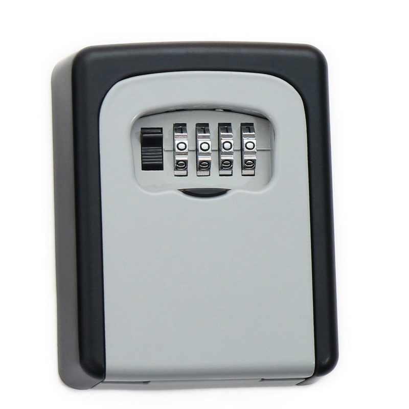 Loozykit 4 أرقام كلمة السر في الهواء الطلق خزانة بمفتاح سبيكة مفاتيح تخزين صناديق قفل مفتاح الأمن المنظم جدار معلق قفل التخزين