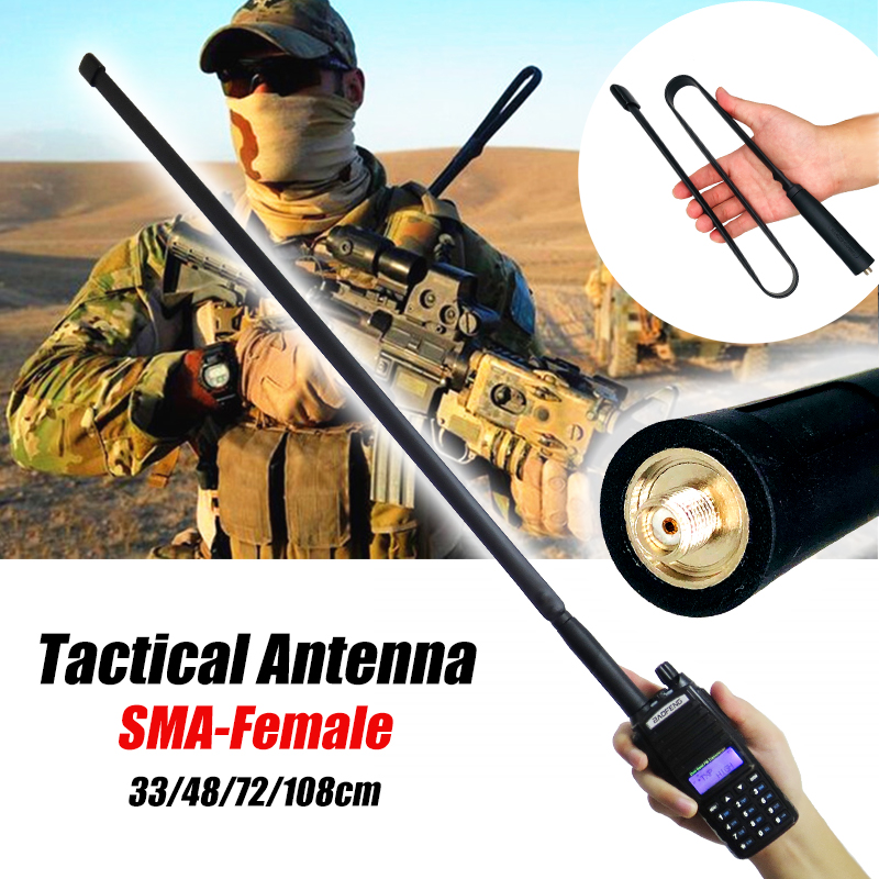 144//430Mhz CS Tactical Antenna SMA-Female Connector Dual Band 33cm For UV-5R