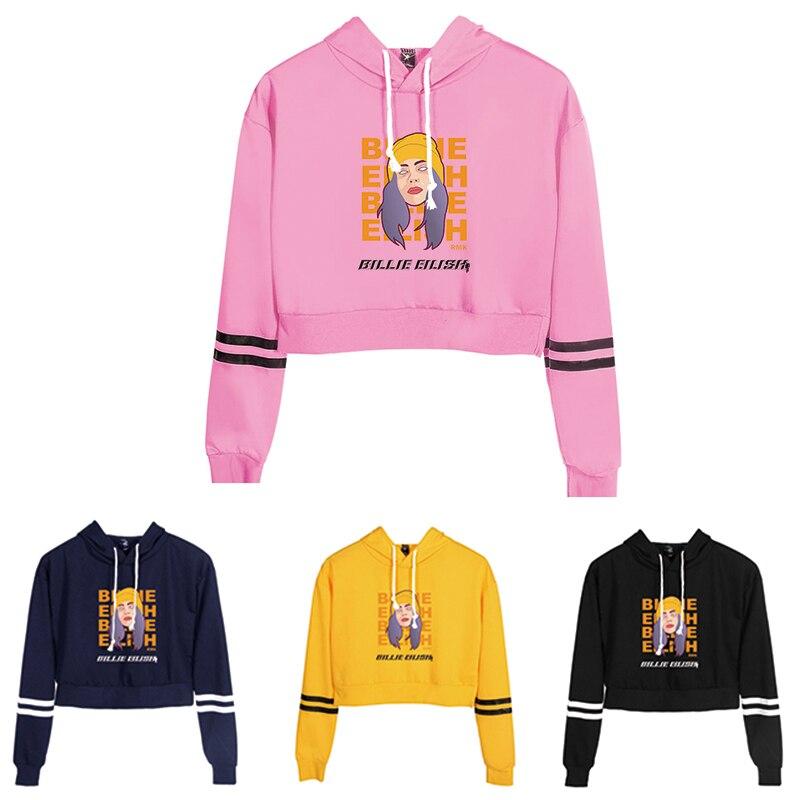 Women Sexy Crop Top Hoodies Singer Billie Eilish Bad Guy Print Harajuku Spring Hot Sale Casual Hoodies Sweatshirts Plus Size
