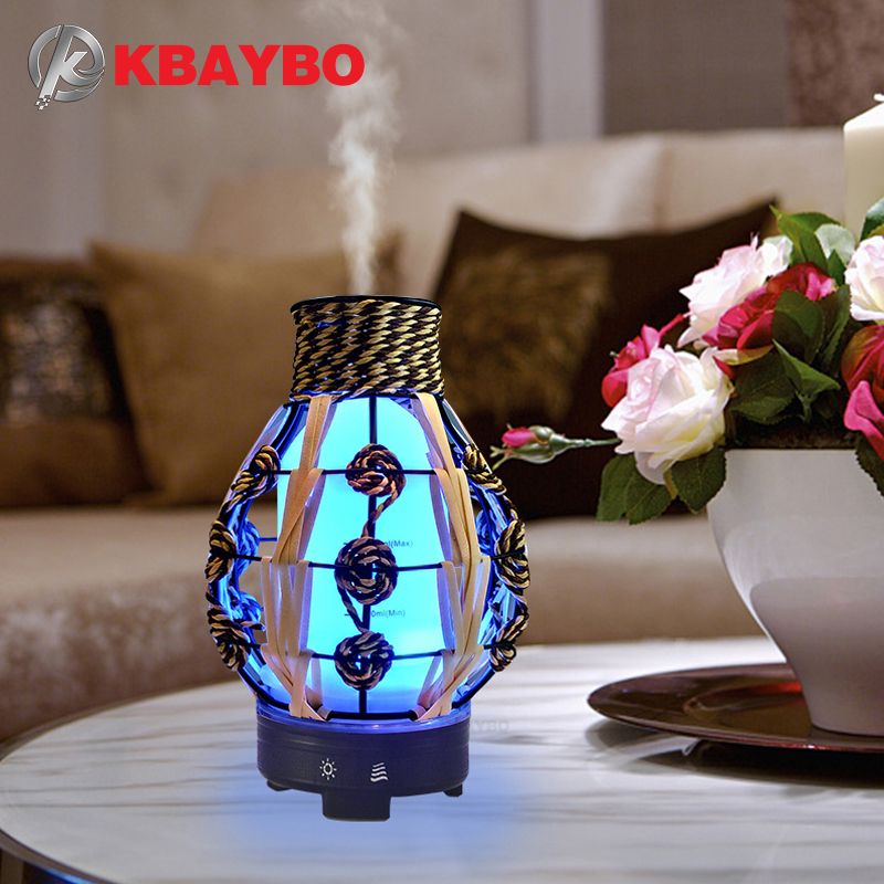 KBAYBO 120ML Ultrasonic Air Humidifier Hollow Electric Aromatherapy Essential Oil Diffuser With 7 Color LED Light Air Purifier