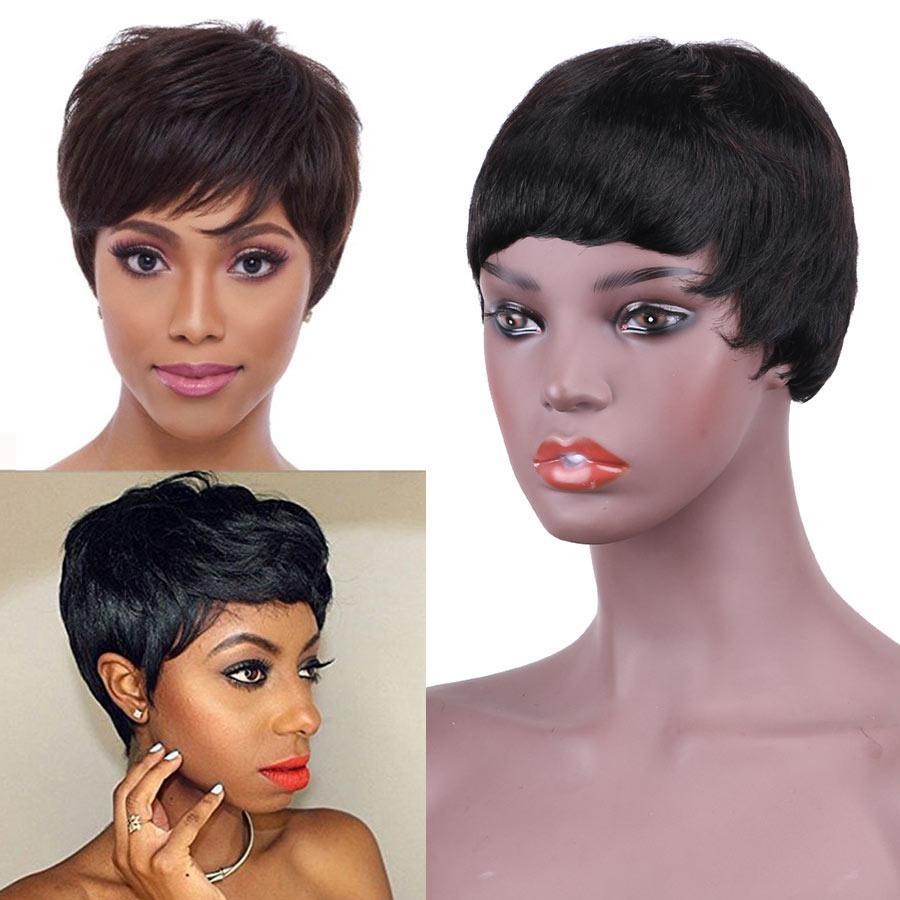 Fashion Lady Full Wigs Short Straight Human Hair Wigs Free Shipping For Black Women