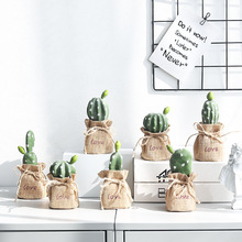 Nordic Cactus Happy Birthday Gift Resin Decorative Miniature Figurines Living Room Office Home Decoration Accessories