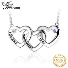 JPalace Heart Natural Amethyst Peridot Topaz Pendant Necklace 925 Sterling Silver Chain Gemstones Statement Necklace Women 45cm недорого