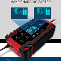 Car Battery Charger 12/24V 8A Touch Screen Pulse Repair Fast Power Charging Wet Dry Lead Acid Digital LCD Display