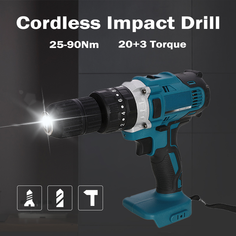 18V 3 In 1 <font><b>Electric</b></font> <font><b>Cordless</b></font> <font><b>Impact</b></font> <font><b>Drill</b></font> 13mm 2-Speed Rechargable Li-Ion Battery <font><b>Electric</b></font> <font><b>Screwdriver</b></font> <font><b>Drill</b></font> For Makita Battery image