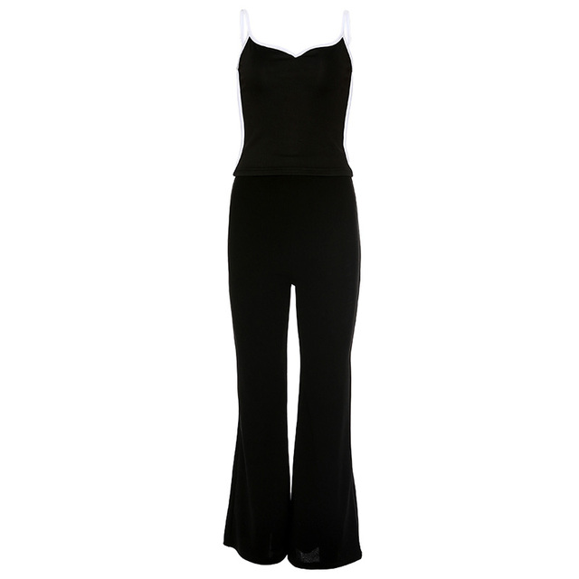 Kendall Jenner Style Women 2 Piece Set Sexy V-neck Camisole Tank Tops With Black Slim Elastic Bell-bottom Trousers Long Pants 4