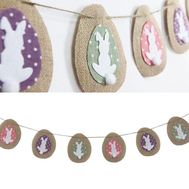 8 Banderas/set creativo partido banderín Pascua decorativo conejo banderín bandera tirar bandera Vintage boda vacaciones hogar bricolaje Decoración