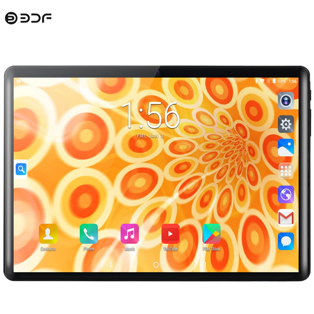 BDF 10 Inch S10P Android 9.0 Deca Core 8GB+128GB WIFI SIM 3G 4G LTE Phone Call Sim Card 1280*800 2.5D IPS Screen Tablet