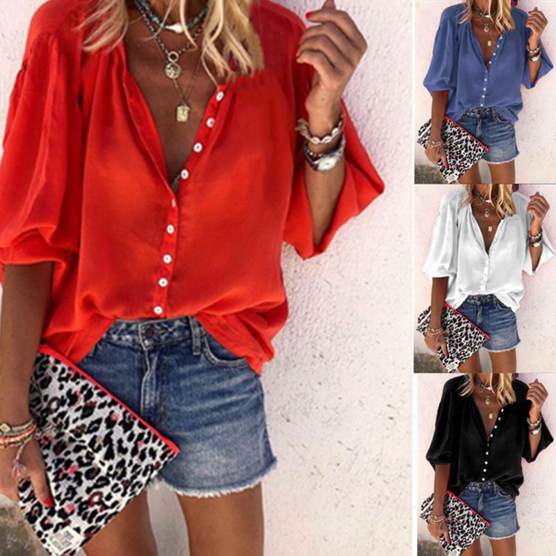 Women Plus Size 3/4 Puff Sleeves   Blouse   Lady Button Down Sexy Deep V-Neck   Shirt   Solid Color Autumn Casual Loose Tops S-3XL
